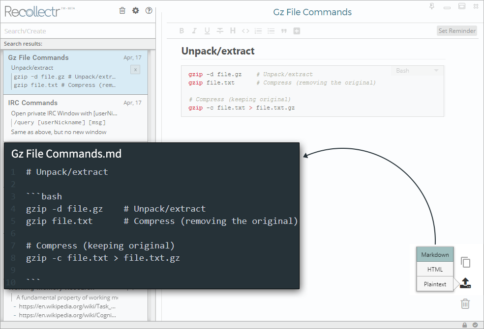 Export notes to markdown, html, or plaintext - to your clipboard or to a file